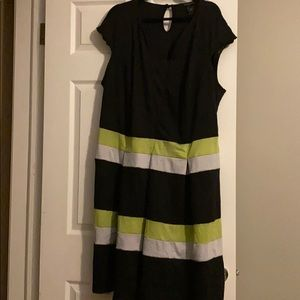 Ashley Stewart Black, Green & Gray Dress Size 28!